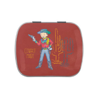 Sharp Shootin' Cowboy Rusty rect. Jelly Belly Candy Tin