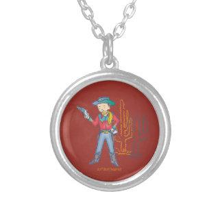 Sharp Shootin' Cowboy Rusty round Round Pendant Necklace