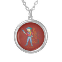 Sharp Shootin' Cowboy Rusty round Silver Plated Necklace