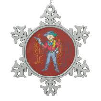 Sharp Shootin' Cowboy Rusty Snowflake Pewter Christmas Ornament
