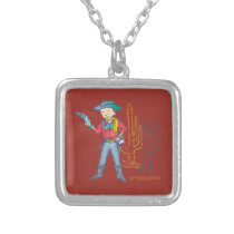 Sharp Shootin' Cowboy Rusty square Silver Plated Necklace
