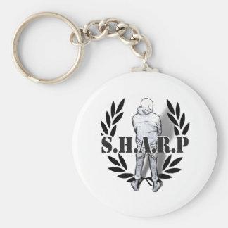 sharp skin standing basic round button keychain