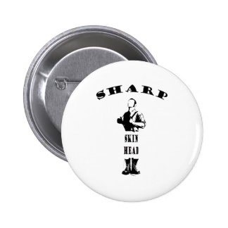 sharp skinhead pinback button