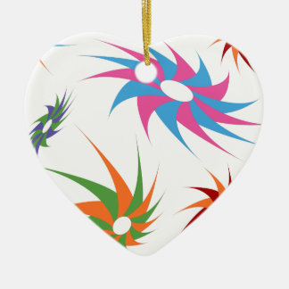 Sharp Spinning Star Pattern Double-Sided Heart Ceramic Christmas Ornament