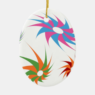 Sharp Spinning Star Pattern Double-Sided Oval Ceramic Christmas Ornament