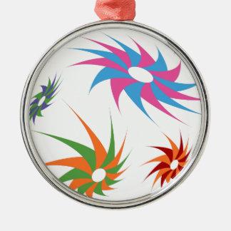Sharp Spinning Star Pattern Round Metal Christmas Ornament