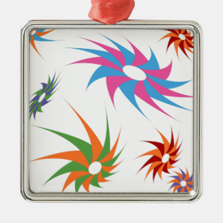 Sharp Spinning Star Pattern Square Metal Christmas Ornament