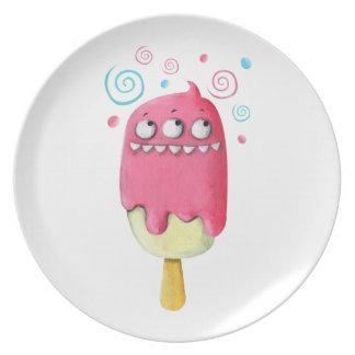 Sharp Teeth Monster Ice Cream Popsicle Dinner Plates