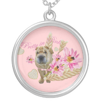 Sharpei in Pink Necklace