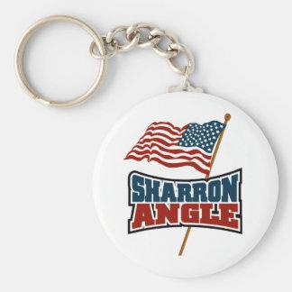 Sharron Angle Waving Flag Basic Round Button Keychain