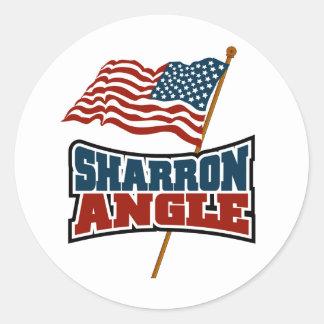 Sharron Angle Waving Flag Classic Round Sticker