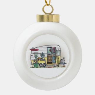 Shasta Camper Trailer RV Ceramic Ball Christmas Ornament