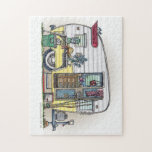 """Shasta Camper Trailer RV Jigsaw Puzzle<br><div class=""""desc"""">Camping memories last a lifetime!  Zazzle is proud to offer this selection of customizable items with this Shasta camper image by artist Richard Neuman. His uniquely styled images combining detail with a touch of whimsy is collected worldwide.</div>"""