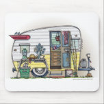 "Shasta Camper Trailer RV Mouse Pad<br><div class=""desc"">Camping memories last a lifetime!  Zazzle is proud to offer this selection of customizable items with this Shasta camper image by artist Richard Neuman. His uniquely styled images combining detail with a touch of whimsy is collected worldwide.</div>"