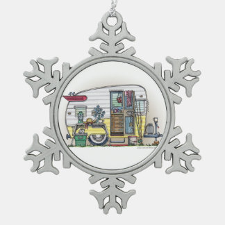 Shasta Camper Trailer RV Snowflake Pewter Christmas Ornament