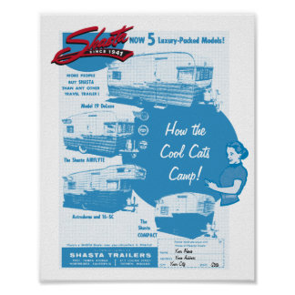Shasta Camper Vintage Ad - Cool Cats Poster