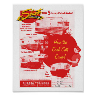 Shasta Camping Cool Cats - Vintage Ad Poster