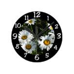 Shasta Daisies Round Wall Clocks