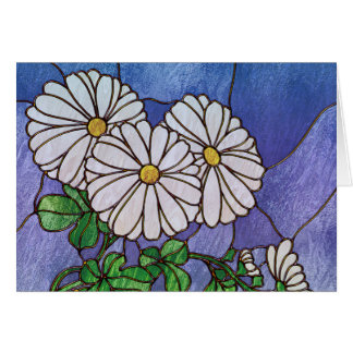 Shasta Daisies Stained Glass Look Card