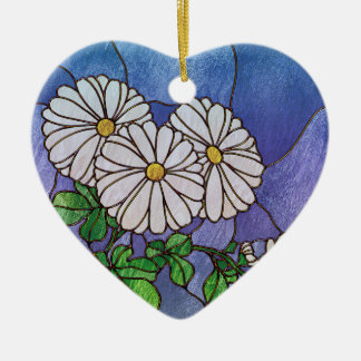 Shasta Daisies Stained Glass Look Ceramic Ornament