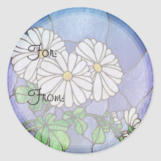 Shasta Daisies Stained Glass Look Classic Round Sticker