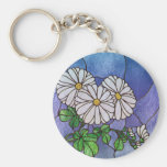 Shasta Daisies Stained Glass Look Keychain