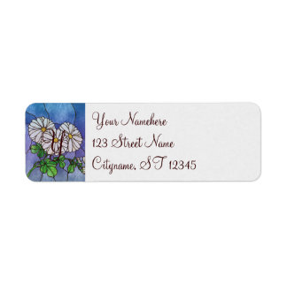 Shasta Daisies Stained Glass Look Label
