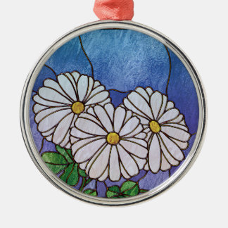 Shasta Daisies Stained Glass Look Metal Ornament