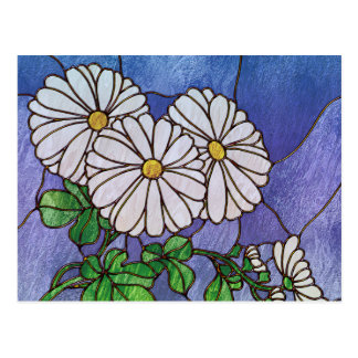 Shasta Daisies Stained Glass Look Postcard