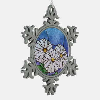 Shasta Daisies Stained Glass Look Snowflake Pewter Christmas Ornament