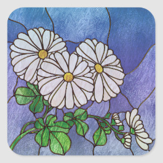 Shasta Daisies Stained Glass Look Square Sticker