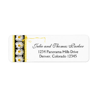 Shasta Daisy Black Gold Wedding Return Address Label