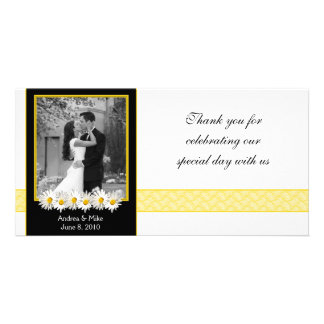 Shasta Daisy Black Gold Wedding Thank You Card