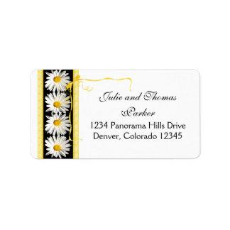 Shasta Daisy Curly Ribbon Wedding Return Address Label