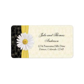 Shasta Daisy Floral Wedding Address Labels
