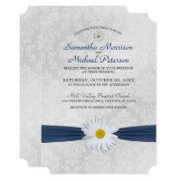Shasta Daisy Navy Blue Ribbon Wedding Invitation