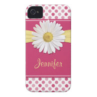 Shasta Daisy Pink Polka Dot iPhone 4 Case