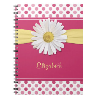 Shasta Daisy Pink Polka Dot Personalized Notebook