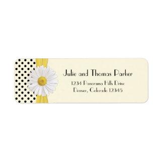 Shasta Daisy Polka Dot Wedding Return Address Label