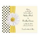 Shasta Daisy Polka Dot Wedding Save the Date Postcards
