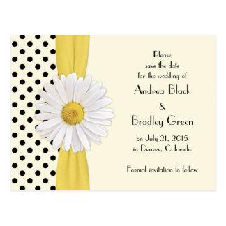 Shasta Daisy Polka Dot Wedding Save the Date Postcard