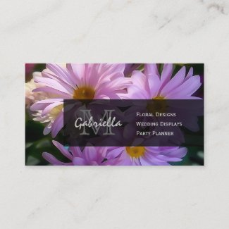 Shasta Daisy Print : Monogram Business Cards