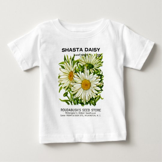 Shasta Daisy Vintage Seed Packet Baby T-Shirt