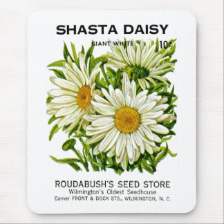 Shasta Daisy Vintage Seed Packet Mouse Pad