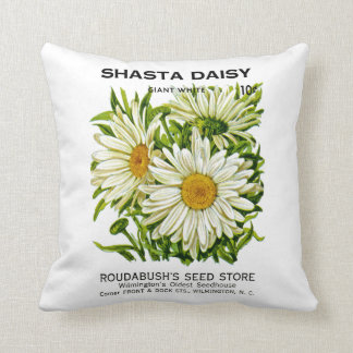 Shasta Daisy Vintage Seed Packet Throw Pillow