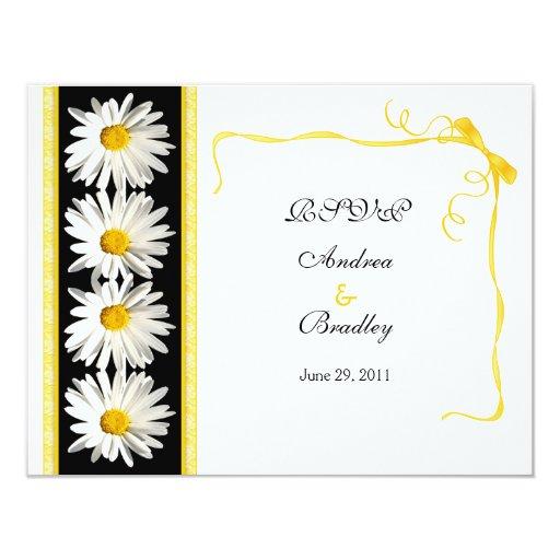 "Shasta Daisy Wedding Response Card 4.25"" X 5.5"" Invitation Card"