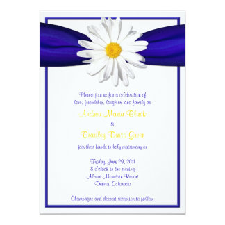 Shasta Daisy with Blue Ribbon Wedding Invitation