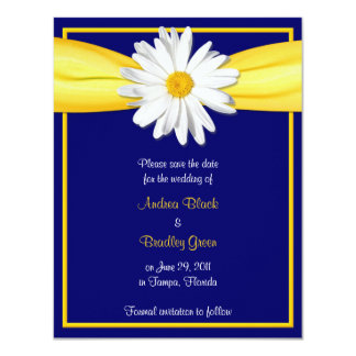 Shasta Daisy with Yellow Ribbon Save the Date Card