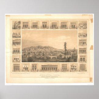 Shasta, mapa panorámico 1856 (1612A) del CA Poster