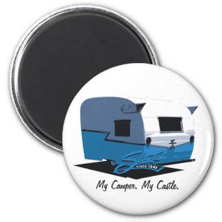 Shasta Vintage Camper - blue 2 Inch Round Magnet